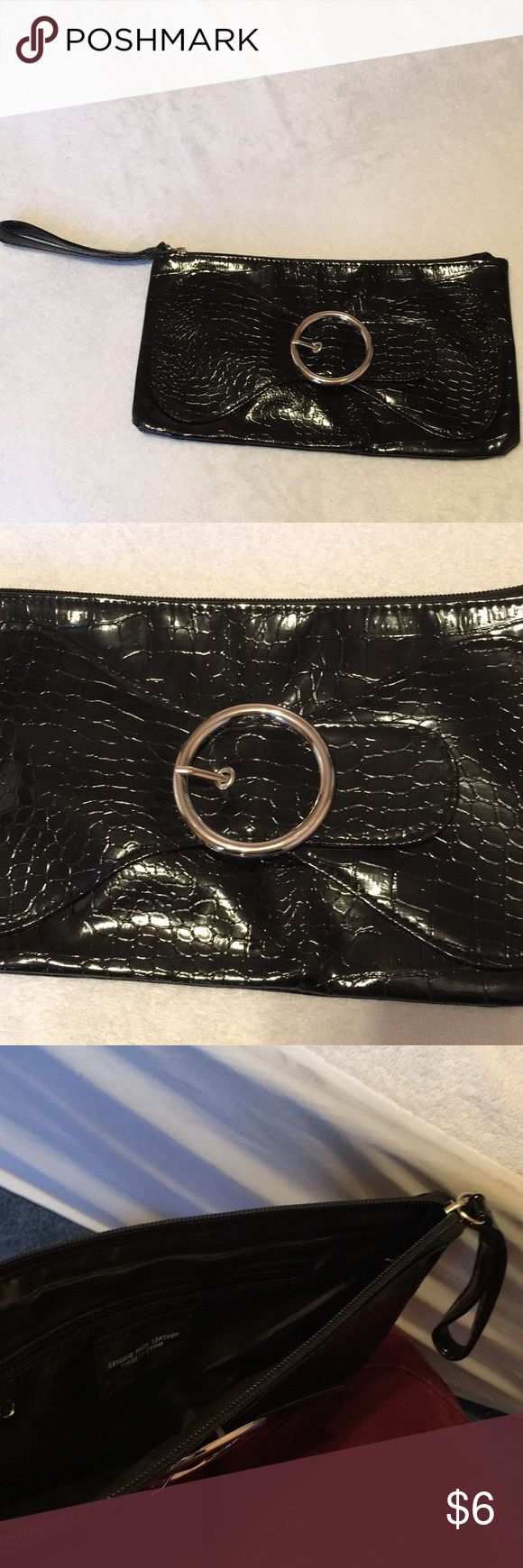 Black Faux Leather Clutch with Buckle Black Faux Leather Clutch with Buckle Bags Clutches & Wristlets