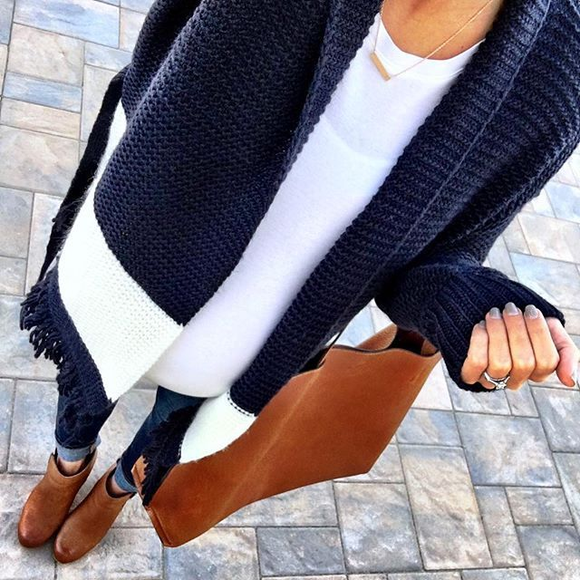 IG @mrscasual <click through to shop this look> LOFT fringe cardigan.  Navy and white.  Ankle booties.  Cognac reversible tote bag.
