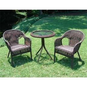 outdoor wicker resin patio furniture bistro set in mocha - Resin Patio Furniture