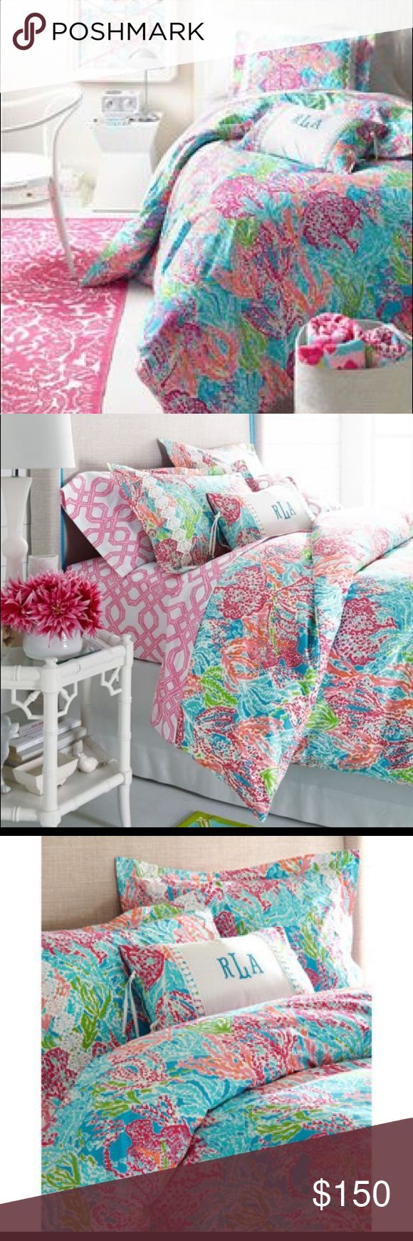 "Lilly Pulitzer Twin XL duvet cover and two shams Lilly Pulitzer Twin XL duvet cover and two sham pillow cases in ""Let's Cha Cha"" print Lilly Pulitzer Other"