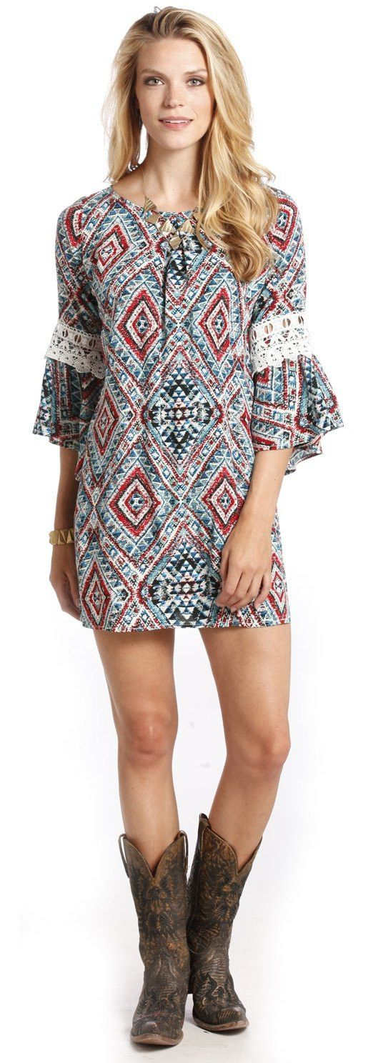 Rock & Roll Cowgirl Aztec Print Dress
