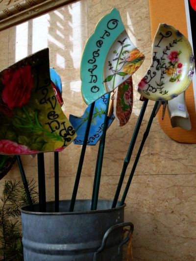 Plant Marker Inspiration - The Backyard Farmer- Broken plates!  Cool! :)