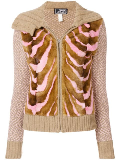 f076f30f94db7a Versace Vintage knitted zipped cardigan