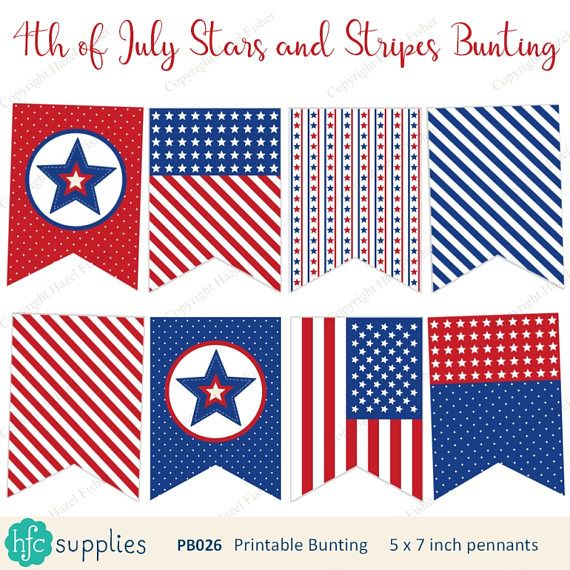 4th of July Stars and Stripes Printable Bunting - red, white and blue patriotic bunting, USA, America - Digital Instant Download from hfcSupplies Etsy. #partyprintable