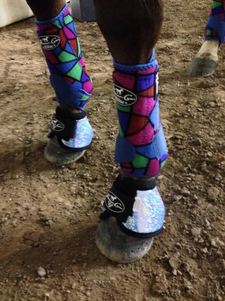 Barrel Racer Christy Loflin debuts the new Stained Glass SMBs and new Glitter Bell Boots!