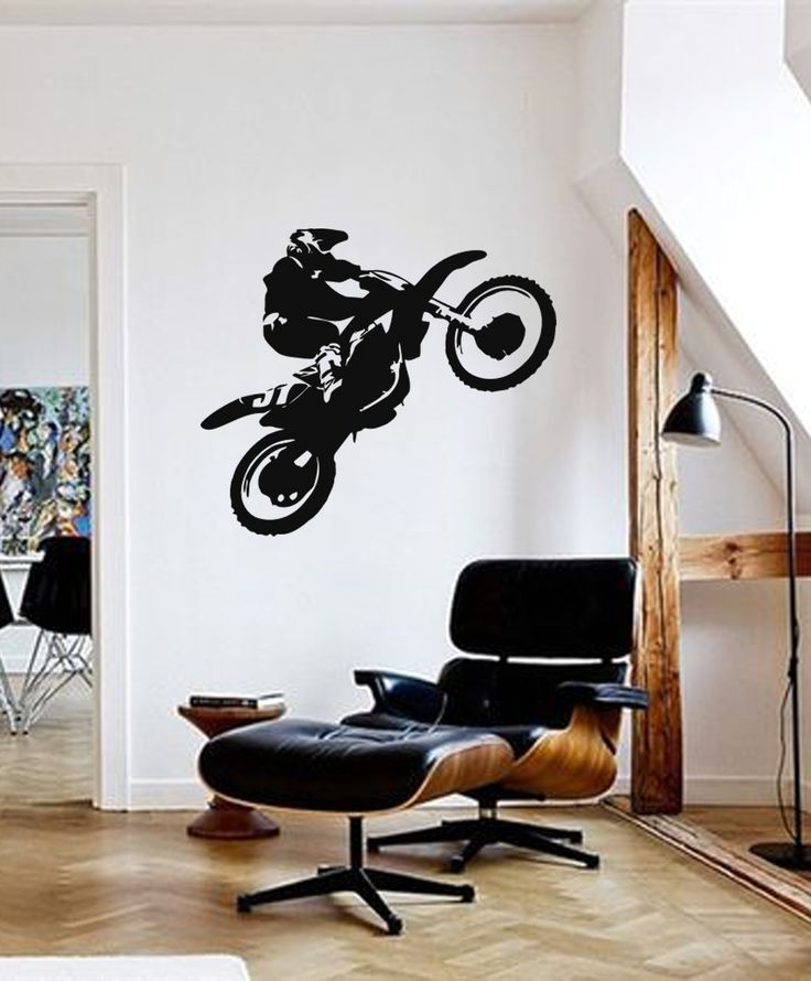 ik285 Wall Decal Sticker Decor motocross moto bike racer race speed adrenaline