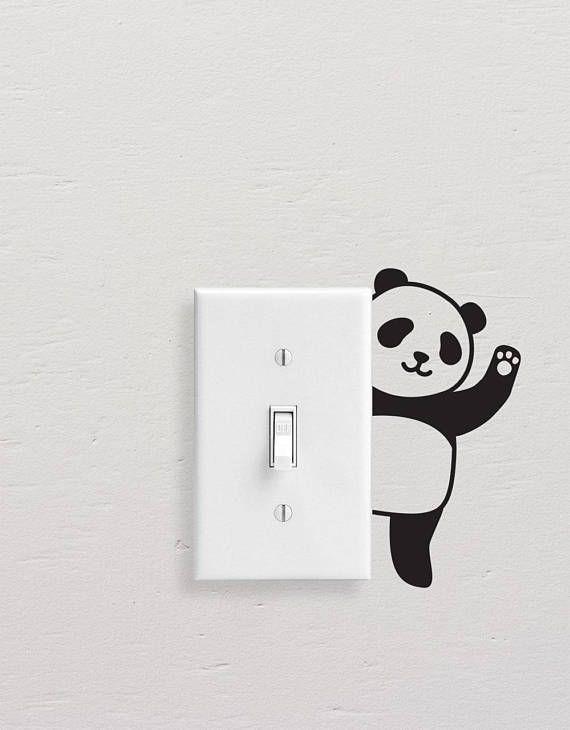 Panda Wall Decals, Panda Light Switch Decal, Simple Panda Vinyl Wall Decal, Panda Stickers, Light Sw