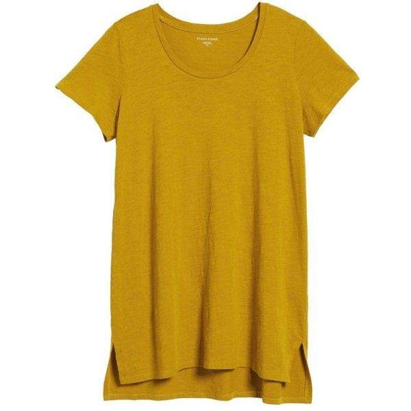 Petite Women's Eileen Fisher U-Neck Organic Cotton Tee (7875 RSD) ❤ liked on Polyvore featuring tops, t-shirts, mustard seed, petite, relaxed fit tops, relaxed fit tee, brown tee, organic cotton tee and eileen fisher tee