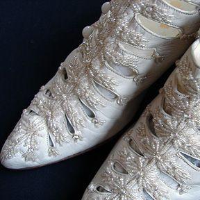 Circa 1900's, Ornate Ladies Shoes w/ Beads