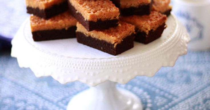 Leilas choklad- och kokosrutor, som en kladdkaka i långpanna som man toppar med kokostosca. Receptet räcker till 24 bitar kaka.