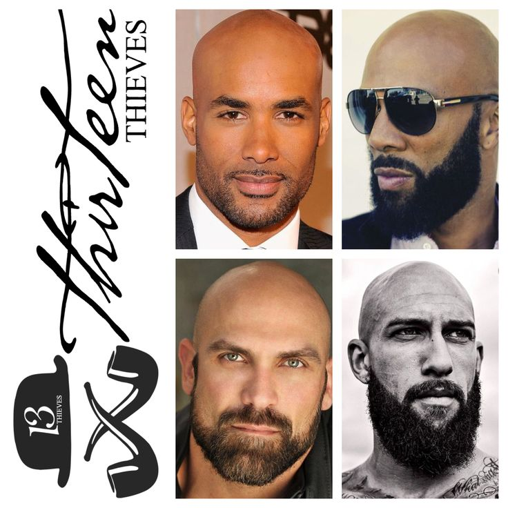 Bald with a beard is a combination that works at every length, from designer stubble to full beards. Beards balance out a lack of hair on top. If you don't believe me, check out these pictures if you need more convincing.   Model Boris Kodjoe @boriskodjoe with a short beard groomed into perfect angles | Mike DeMello has a groomed beard but the dense texture and dark color give it a bold presence | Common's signature beard and shaved head, the mustache and cheeks are groomed into a distinct…