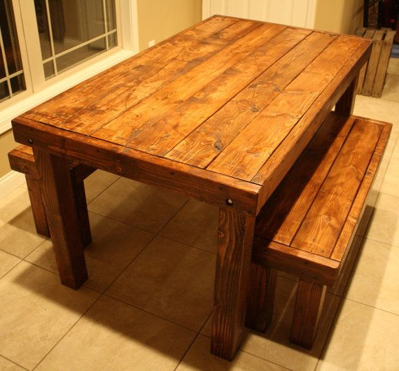 Unique Primtiques Beautiful American Walnut Stained Table W Two Benches Set  Custom Made Sizes To Order Different Colors Upon Request