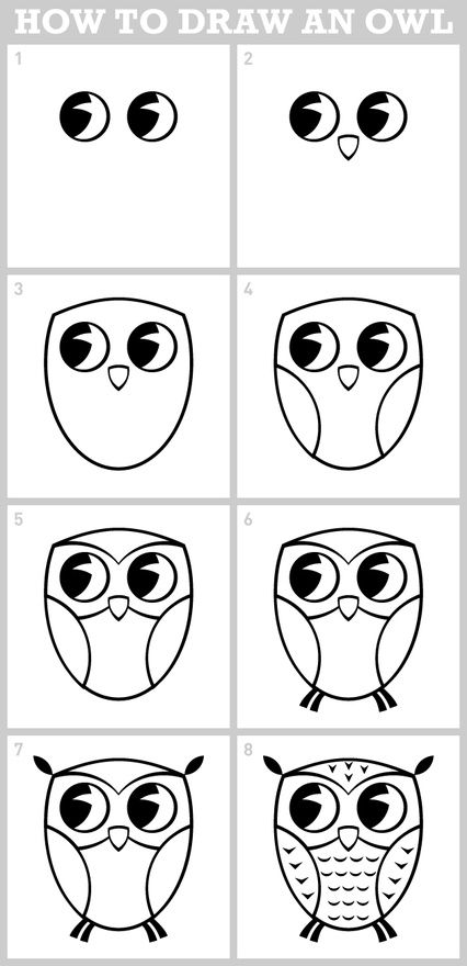 owl - how to draw Got to remember this when my munchkins tell me to draw an owl for the letter o ;-)