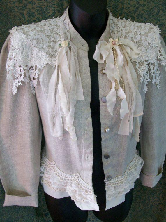lace jacket shabby chic coat shabby cottage mori girl by LamaLuz, $65.00