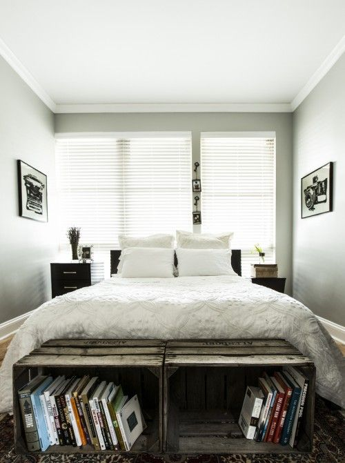 The boxes at the end of Ann Ueno's bedroom in Chicago serve as seating and a place to stash bedtime reading.