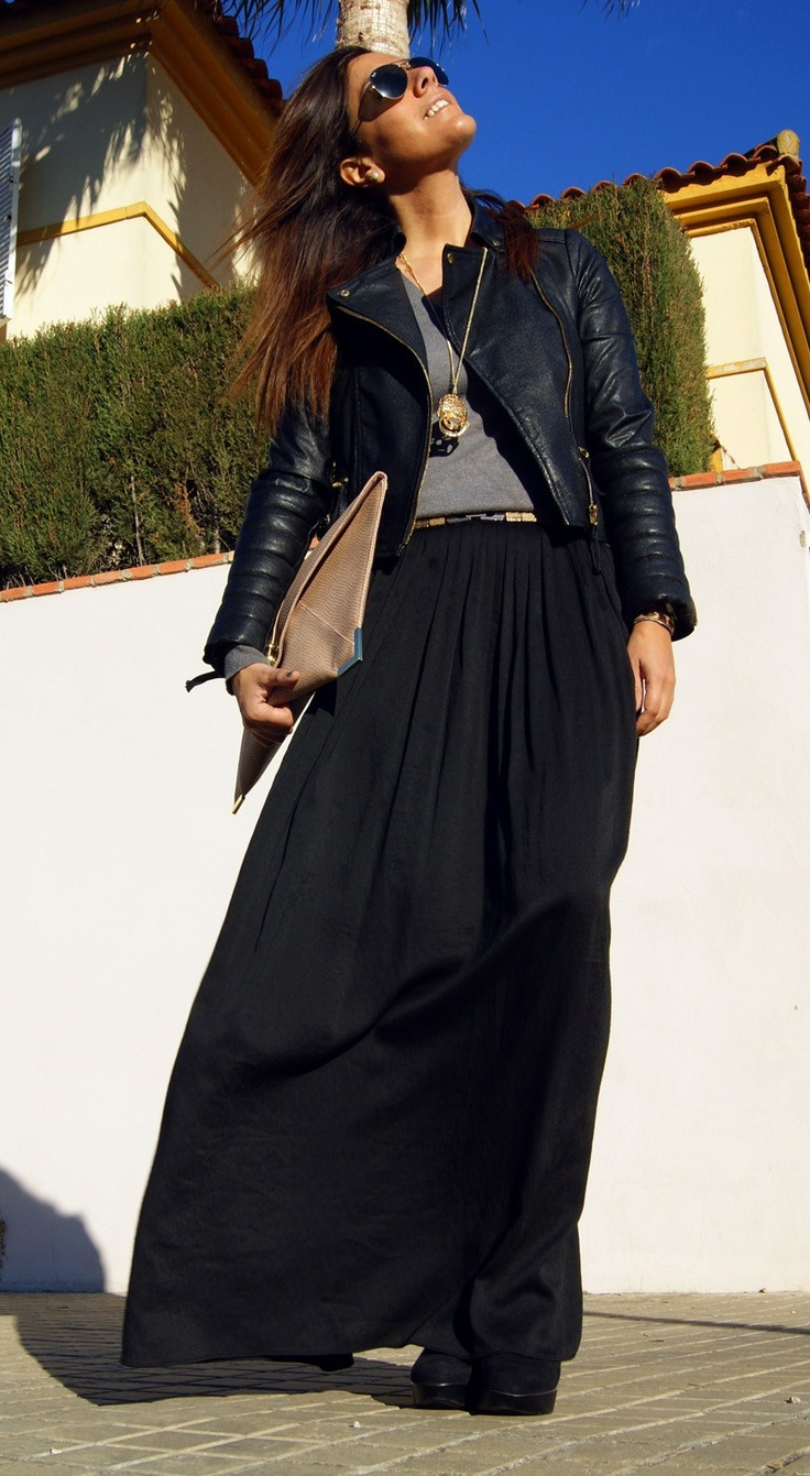 Long black skirt with gray basic tee and black leather jacket.