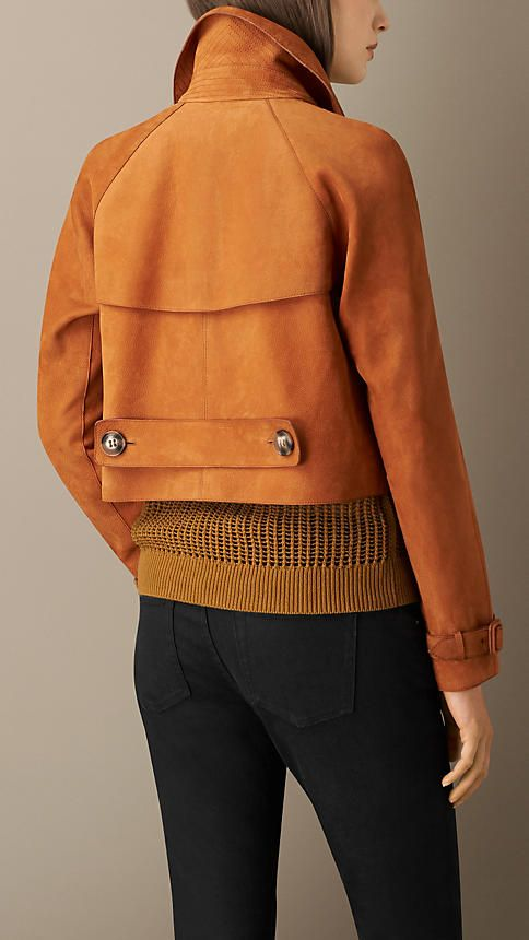 Orange ochre Cropped Oversize Nubuck Jacket - A grainy nubuck jacket cut in a cropped oversize shape. The jacket features horn-look buttons and a double-breasted closure.  Heritage details include buckle-tab cuffs, a gun flap and storm shield and a martingale.  Discover the women's outerwear collection at Burberry.com