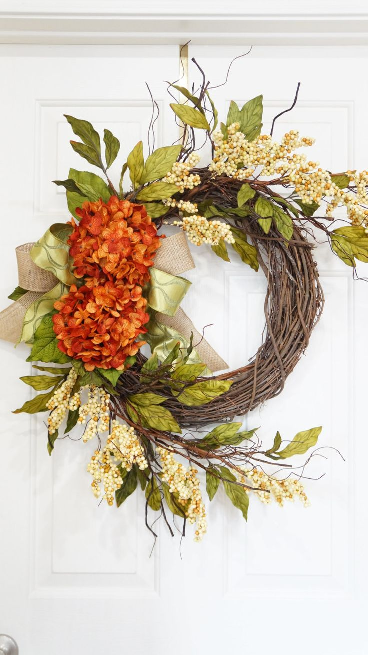 Summer Wreath-Spring Wreath-Fall Wreath-Rustic Grapevine Burnt Orange Hydrangea Wreath With Beige Berries-Mothers Day Gift-Front Door Wreath by WreathdesignsbyJulma on Etsy
