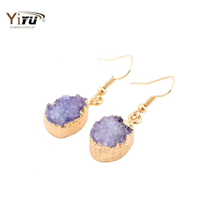 2016 Gold Plated Quartz Druzy Colorful Adorable Oval Agate Geode  Drusy Geometric Drop Earrings Natural Stone Jewelry SE001