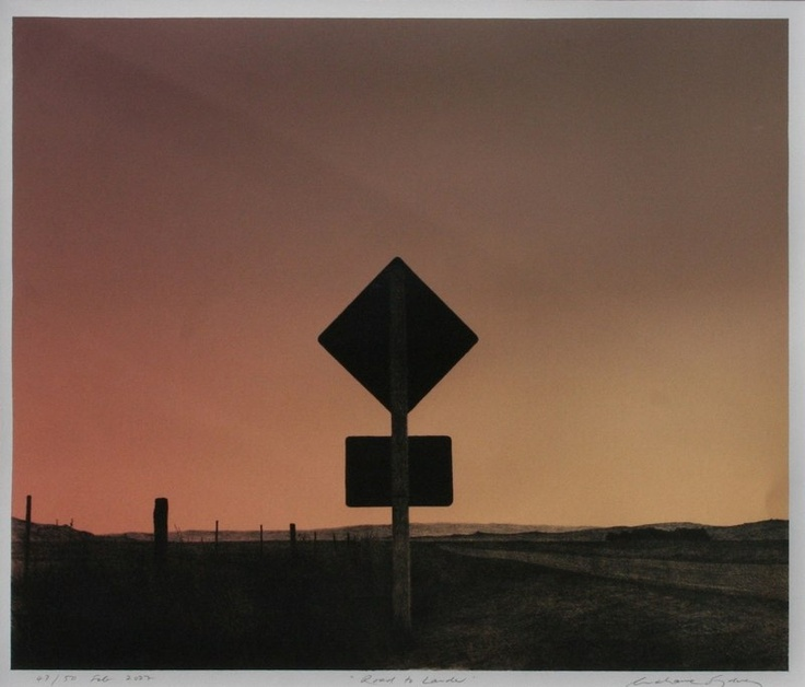 Grahame Sydney - Road to Lauder, lithograph