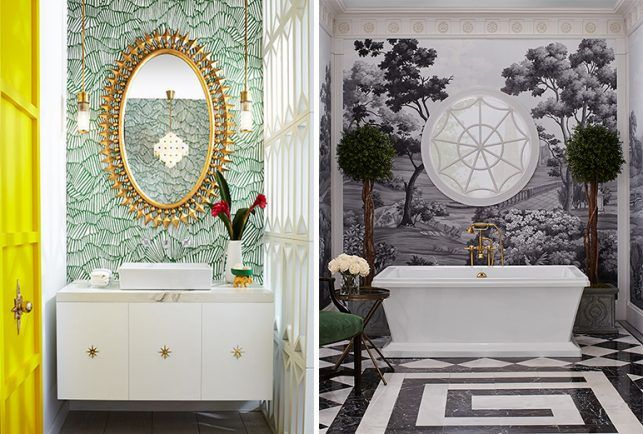 KBIS 2017-Beth Dotolo and Carolina Gentry created a Mid-Century oasis for a resort bath in Palm Springs (left), while Susan Jamieson incorporated old country motifs for a bathroom located in a Southern Classic Charleston manor (right).