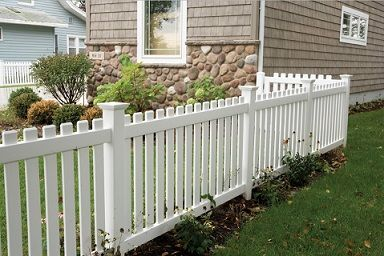 classic flat topped vinyl picket fence