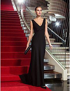 Formeller Abend / Militär Ball Kleid - Vintage inspiriert Eng anliegend V-Ausschnitt Pinsel Schleppe Jersey mit Perlstickerei