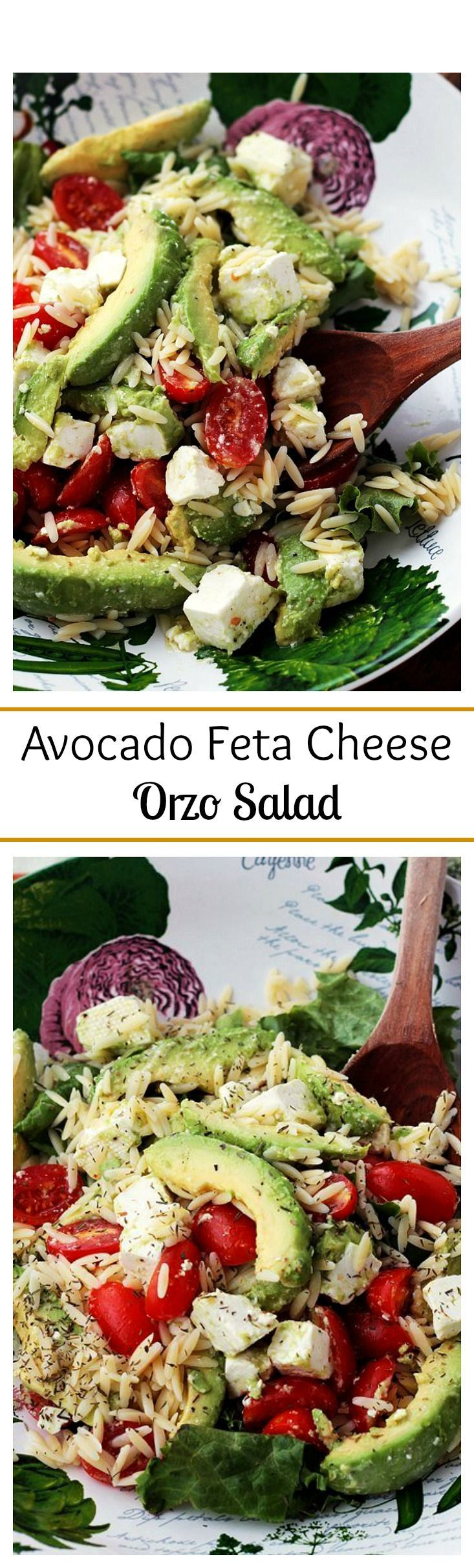 Bright, simple, and delicious appetizer salad with Avocados, Feta Cheese and Orzo.