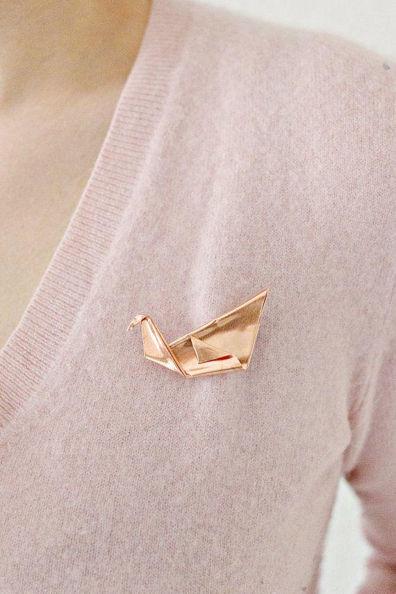 Koperen sieraden: Koper Origami Swan van shoplanaredstudio op Etsy