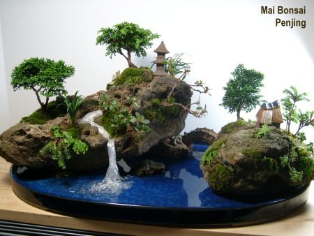 """Penjing (literally """"tray scenery""""), also known as penzai (literally """"tray plant""""), tray landscape, potted scenery, potted landscape, or miniature trees and rockery, is the ancient Chinese art of depicting artistically formed trees, other plants, and landscapes in miniature. Penjing generally fall into one of three categories: Tree Penjing, Landscape Penjing & Water and Land Penjing."""