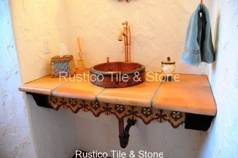 bathroom sink in spanish mexican painted ceramic clay tile sinks custom tile 16520