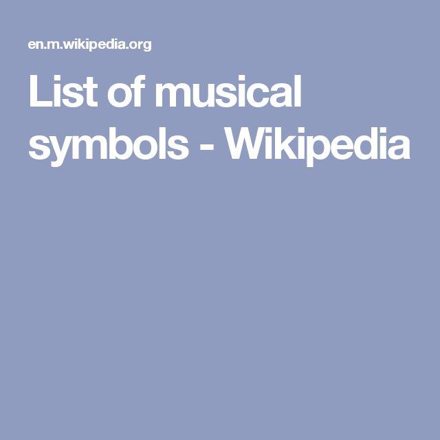 List of musical symbols - Wikipedia
