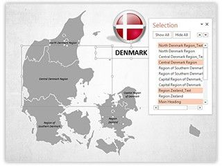 Download our professionally designed Denmark Map With Selection List PowerPoint map. This PowerPoint #map of #Denmark is affordable and easy to use. Get our editable map of Denmark now for your upcoming #presentation. This royalty #free map of Denmark and its #provinces of ours, let you edit text and values easily and hassle free, and can be used for various sales, #marketing, #business and educational PowerPoint #presentations.