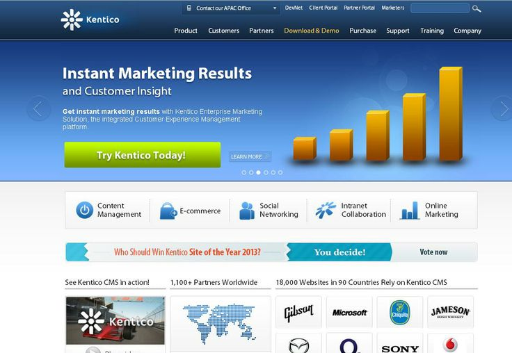 Kentico  For More: http://www.themangomedia.com/blog/selecting-right-cms-website-for-your-business-with-industry-trends/