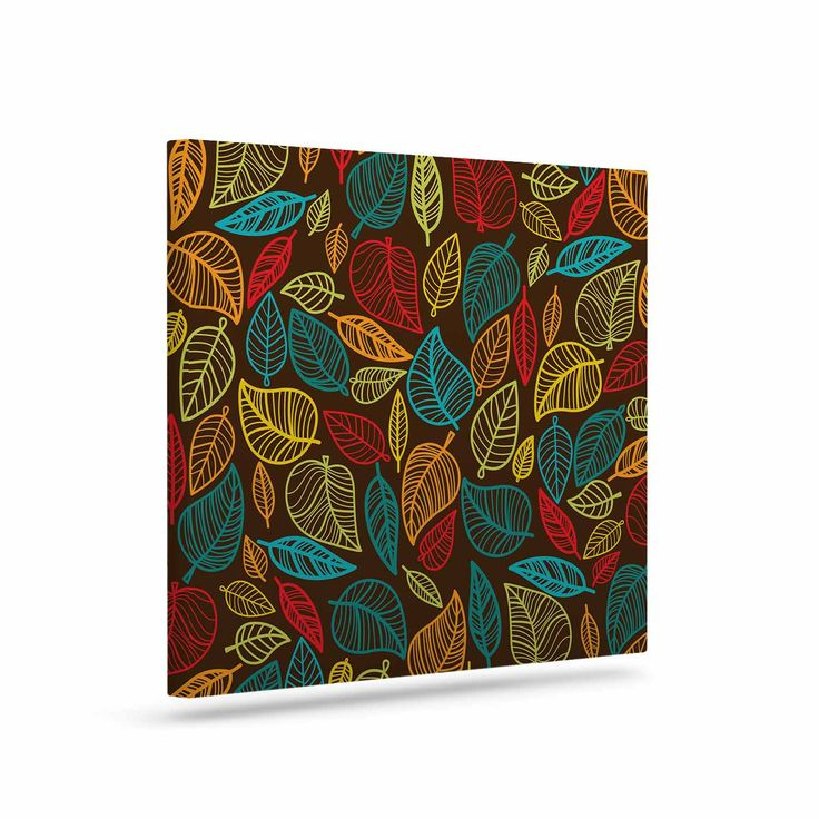 "KESS Original ""Leaves All Around"" Multicolor Brown Canvas Art"