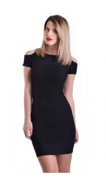 Μαύρο ριπ φόρεμα με ανοιχτούς ώμους