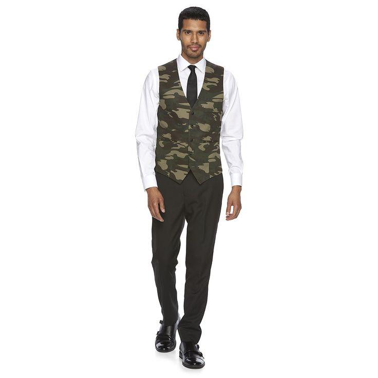 Men's WD.NY Slim-Fit Black & Camo Suit Vest, Size: Medium, Grey (Charcoal)