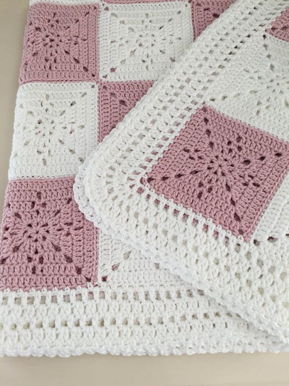 Crochet Baby Blanket or Throw Pattern - Arielles Square  This pattern was designed for my niece as a wedding gift. I wanted a timeless yet simple square that could be used for a throw, a baby blanket, or even as a table runner. It came out quite elegant. This will be your go to pattern for a wedding gift or baby shower. The square is VERY easy, especially since it is one color, so you have very few ends to weave in. The pictures show a baby blanket using DK weight yarn and a full size throw…