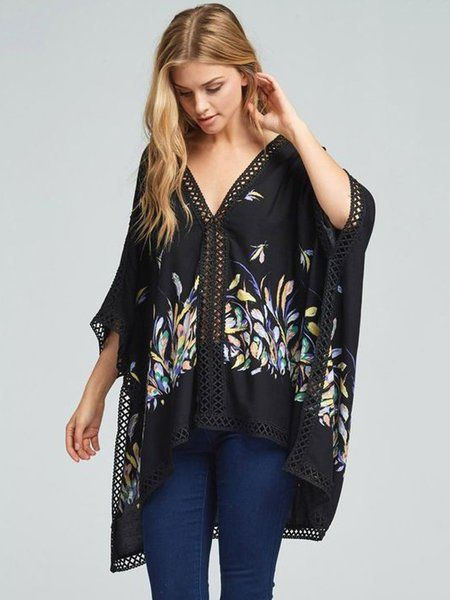 Shop Kimonos - Graphic Casual Shift Printed Batwing Kimono online. Discover unique designers fashion at StyleWe.com.