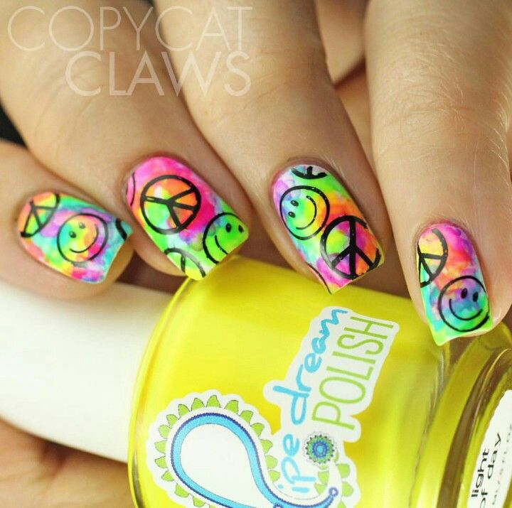 Colorful HAPPY nails, smiley face and peace sign
