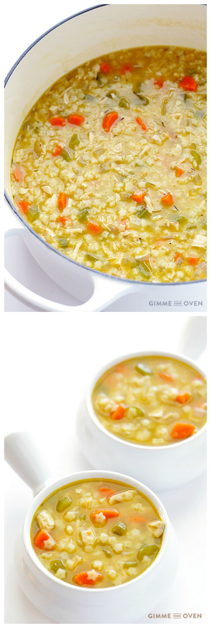 Chicken and Stars Soup -- quick and easy to make, all natural (vs. the can!), and sooo comforting and delicious and FUN! | gimmesomeoven.com
