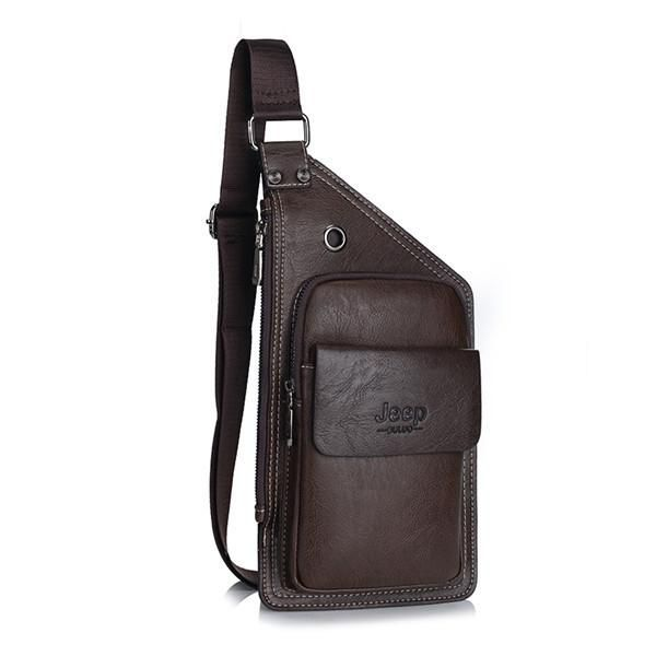 JEEP Famous Brand Men Chest Bags Theftproof Magnetic Button Open Fashion Leather Travel Crossbody Bag Man Messenger Bag 8005 - Best price in 10minus