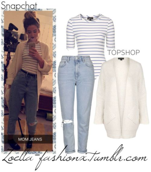 Snapchat Story | February 9th, 2016TopShop Crew Neck Striped Body - $35TopShop Moto Bleach Rip Mom Jeans - $75TopShop Cocoon Rib Cardigan - $85Looks like Zoe went on a Topshop shopping spree! I am honestly loving this look. Especially the bodysuit! *heart eyes*