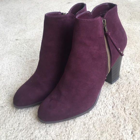 Brand New Purple Booties Brand new suede ankle boots! 2 inch heel and side zipper Charlotte Russe Shoes Ankle Boots & Booties