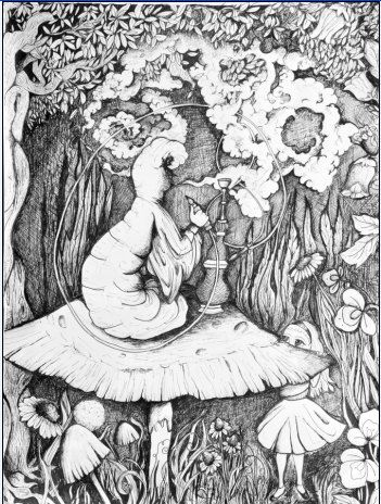 trippy ink drawing print alice in wonderland adult coloring pagescoloring