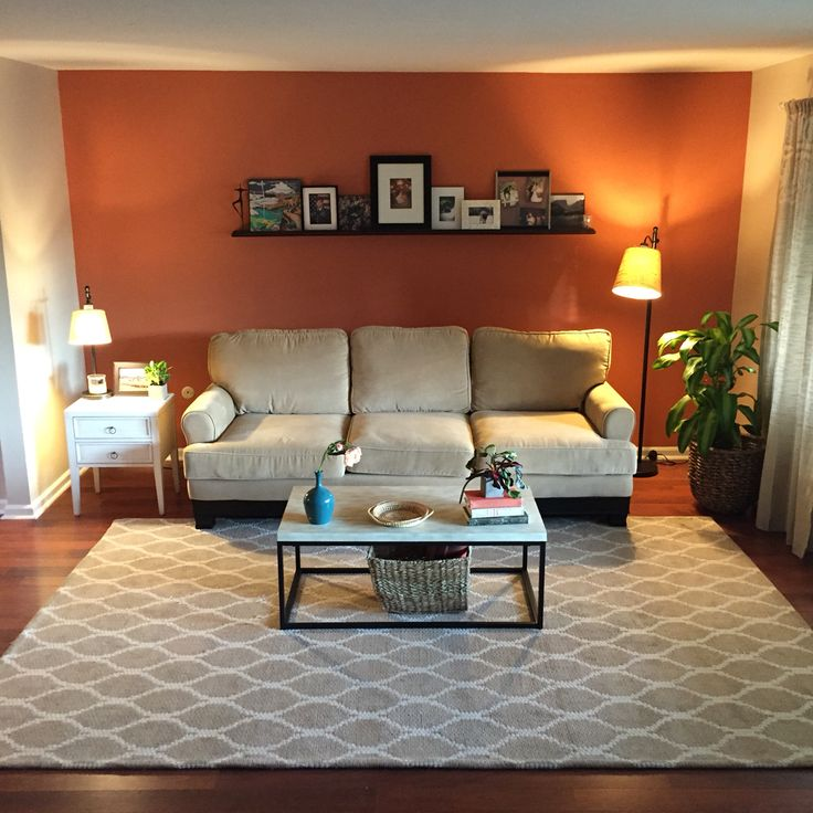 Accent Wall In Sherwin Williams Bronwyn Rust Living Room