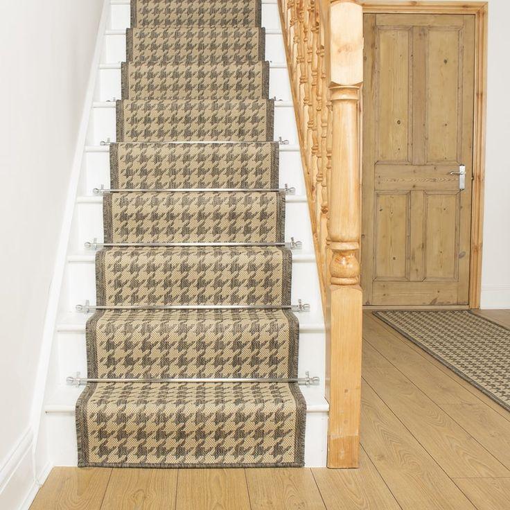 Houndstooth Tweed Beige Stair Runner Stair runner carpet