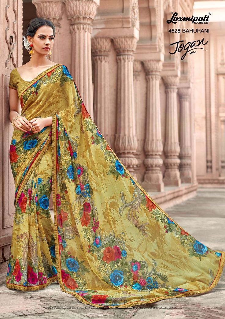 Mesmerize everyone with your wonderful conventional look by draping this multicolour #georgette #floral #printed_saree along with Fancy Lace Border. Catalogue- JOGAN Designnumber: 4628, Price: ₹1375.00