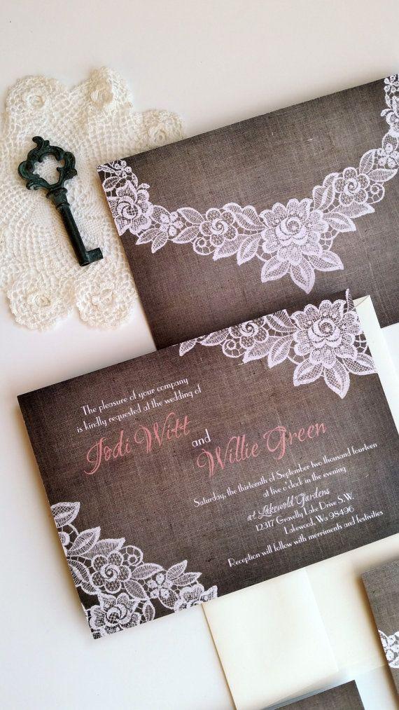 Rustic burlap wedding invitation set