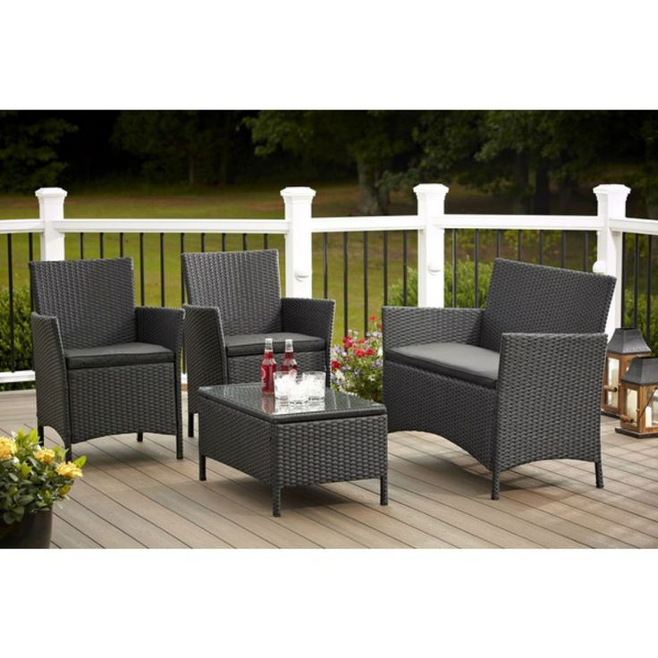 Patio Furniture Sets Clearance Sale Costco Patio Resin Wicker Discount Set  Black #Costco
